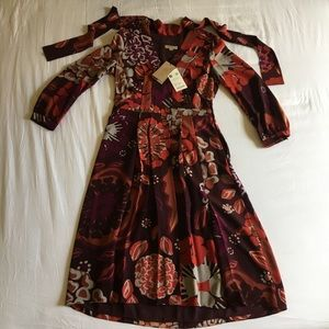 Burberry Deep Burgundy Floral Silk Dress
